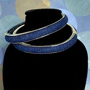 Joan Rivers Denim Hinged Bangle Bracelets